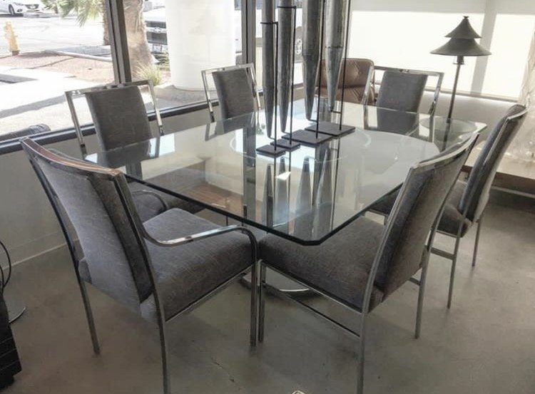 clear dining table with chairs