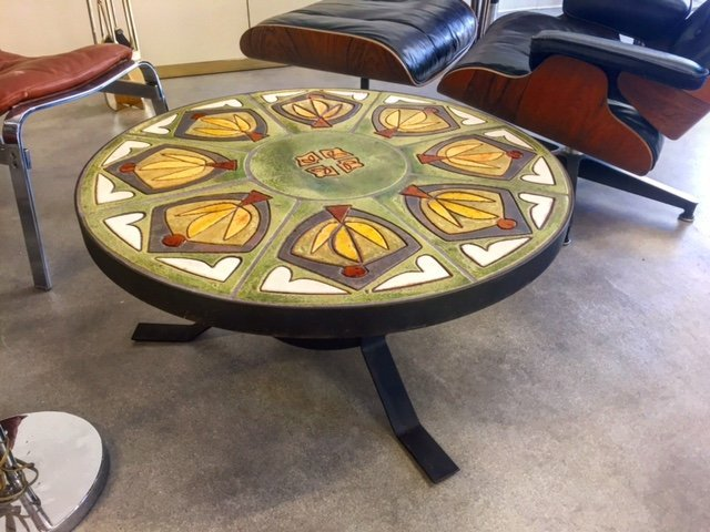 round table with pattern on the top