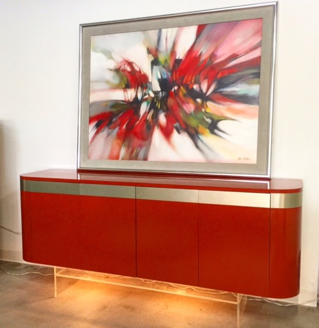 red painting over a red cabinet