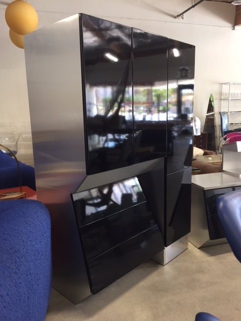 black tall cabinets