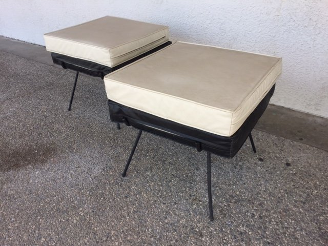 short white outdoor stools