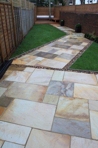 London Garden Builders design Fossil Mint paving. Garden in Hendon