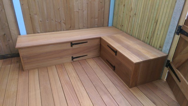 London garden Builders design Hardwood corner bench with storage