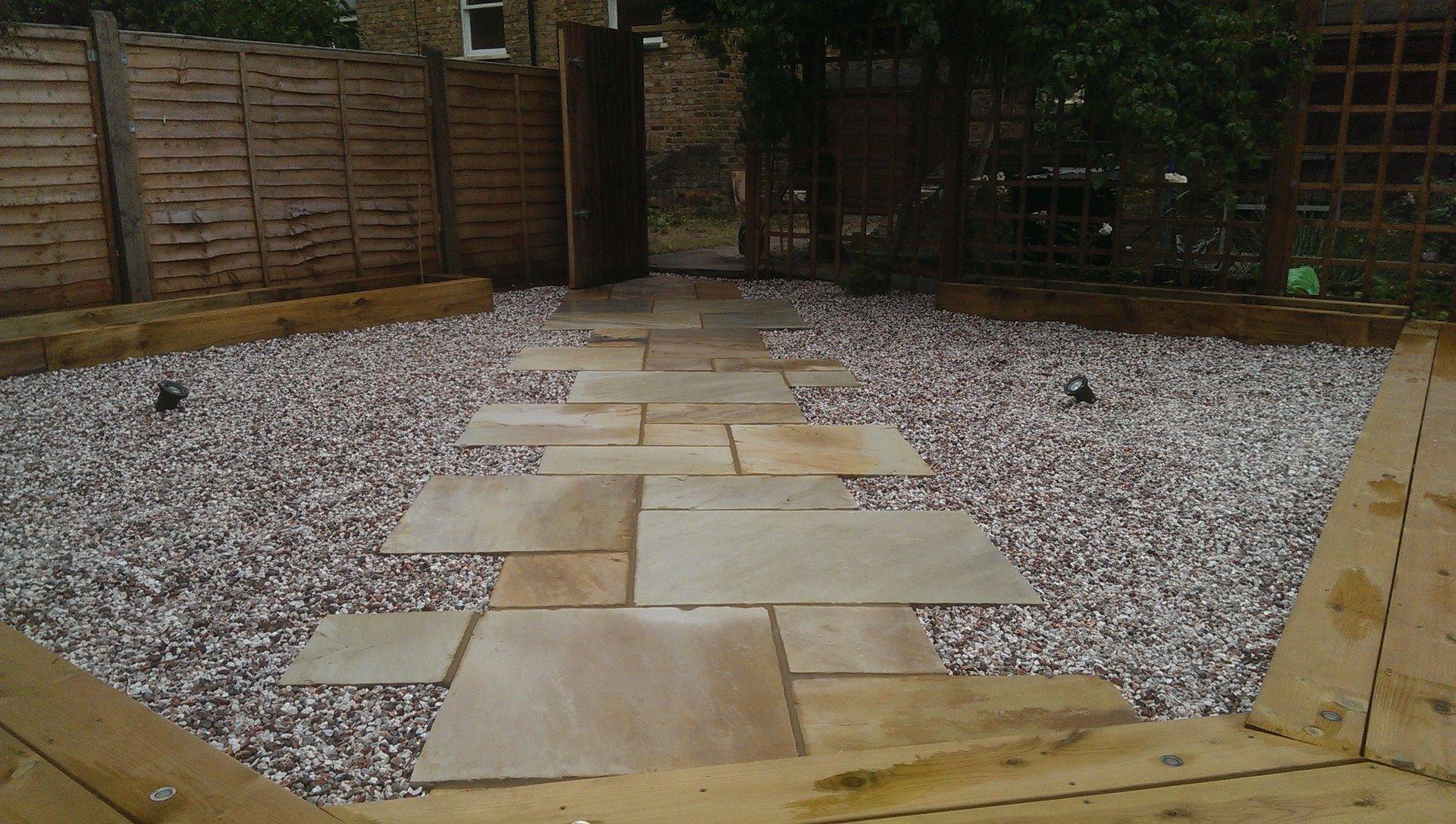 London Garden Builders design Fossil Mint paving. Garden in Hackney