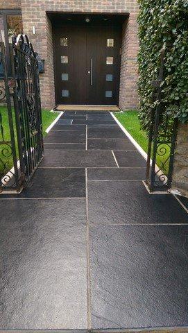 London Garden Builders design Black limestone front path. Garden  in Crystal Palace