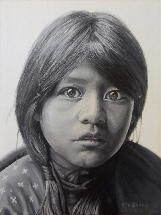 Taos Girl painting by Stu Braks