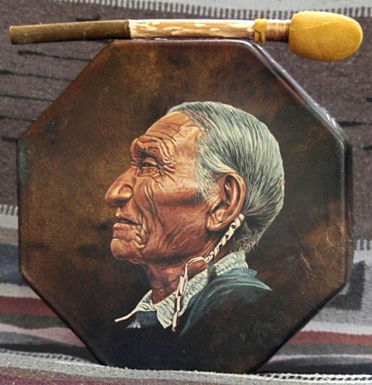 Painted Native American drum by Stu Braks