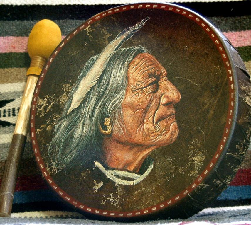 Painted Native American Indian drum by Stu Braks