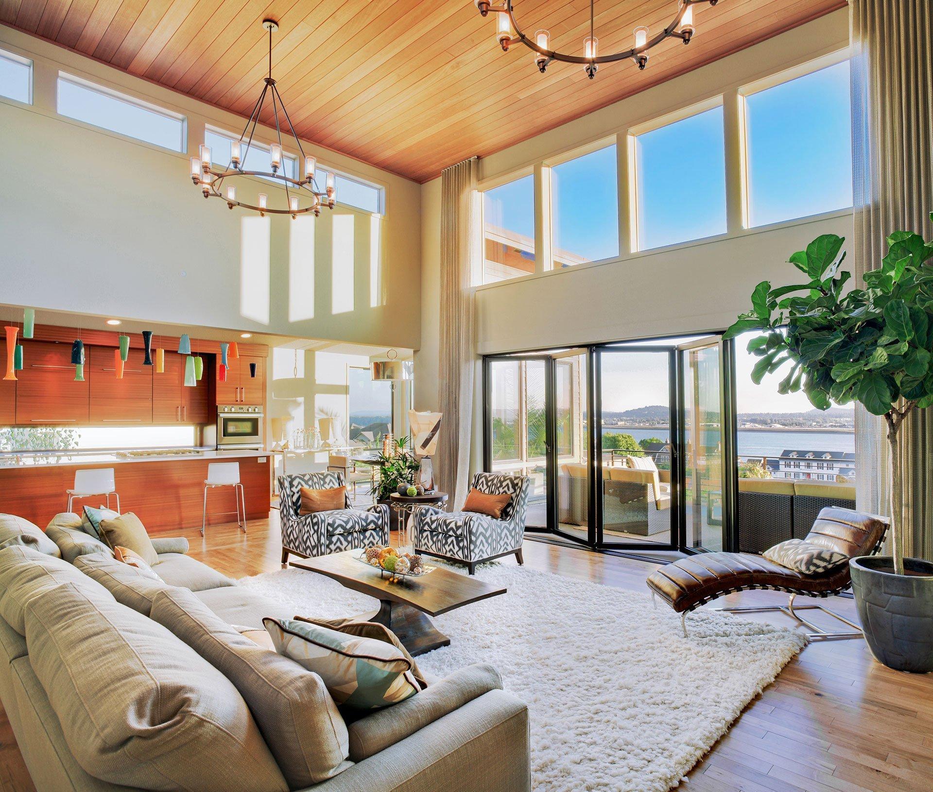 living room overlooking waterway