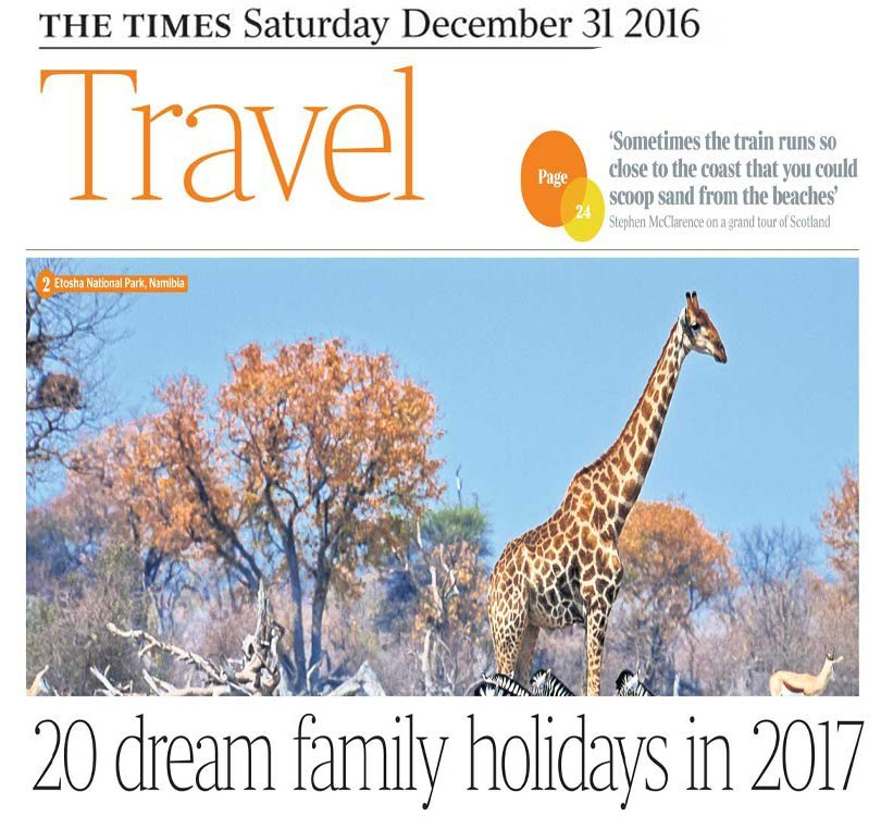 The Times Article, Voted 7th best Family Holiday