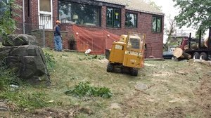 crew grinding a stump to remove it from a residence