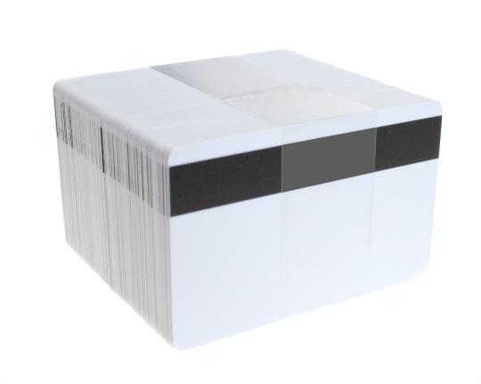 Karten, Zebra Premier PVC, weiß, 30 mil mit Magnetstreifen (niedrige Koerzivität)