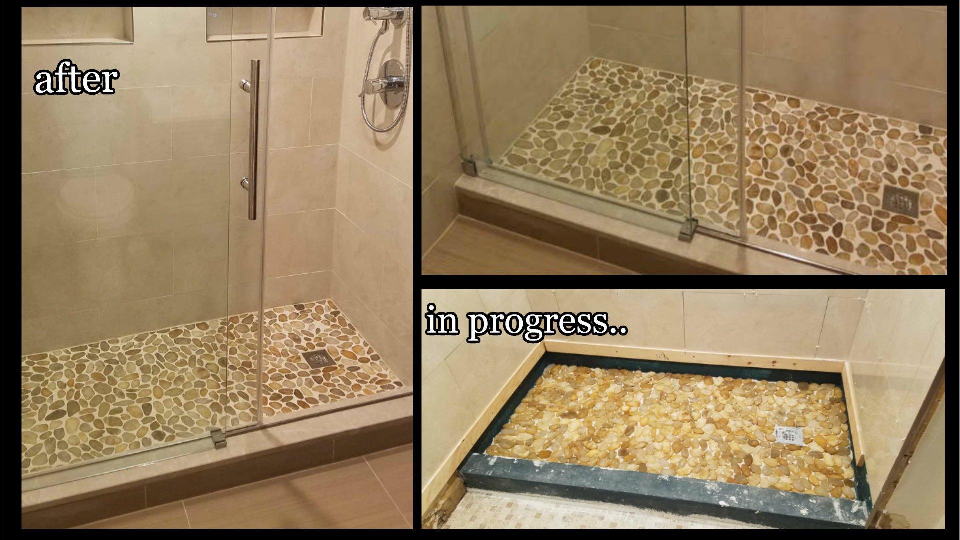 Very pity pebble bottom shower