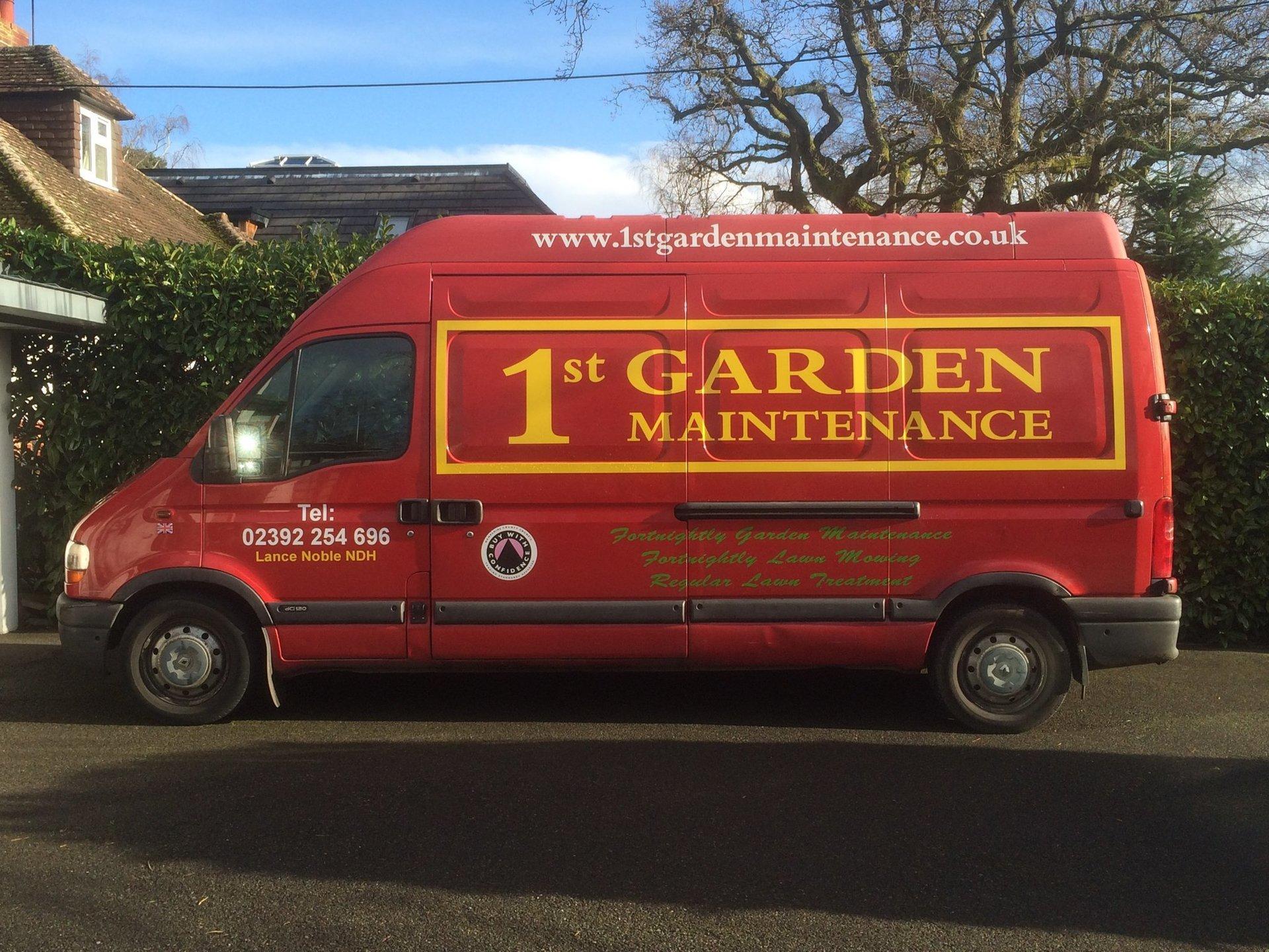 1st garden maintenance lawn care winchester gardener for Garden maintenance van