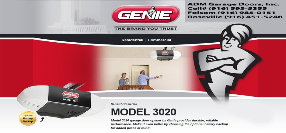 Adm Garage Doors Inc 916 595 5355 Genie 3020 Garage Door