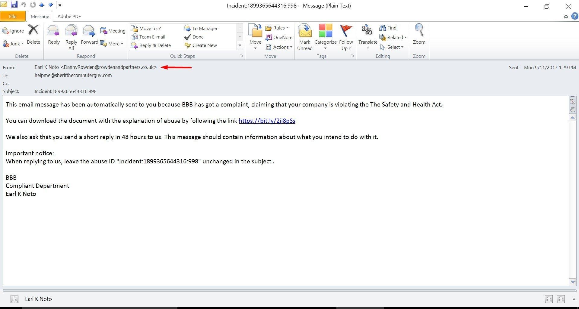 Sample Bait Email
