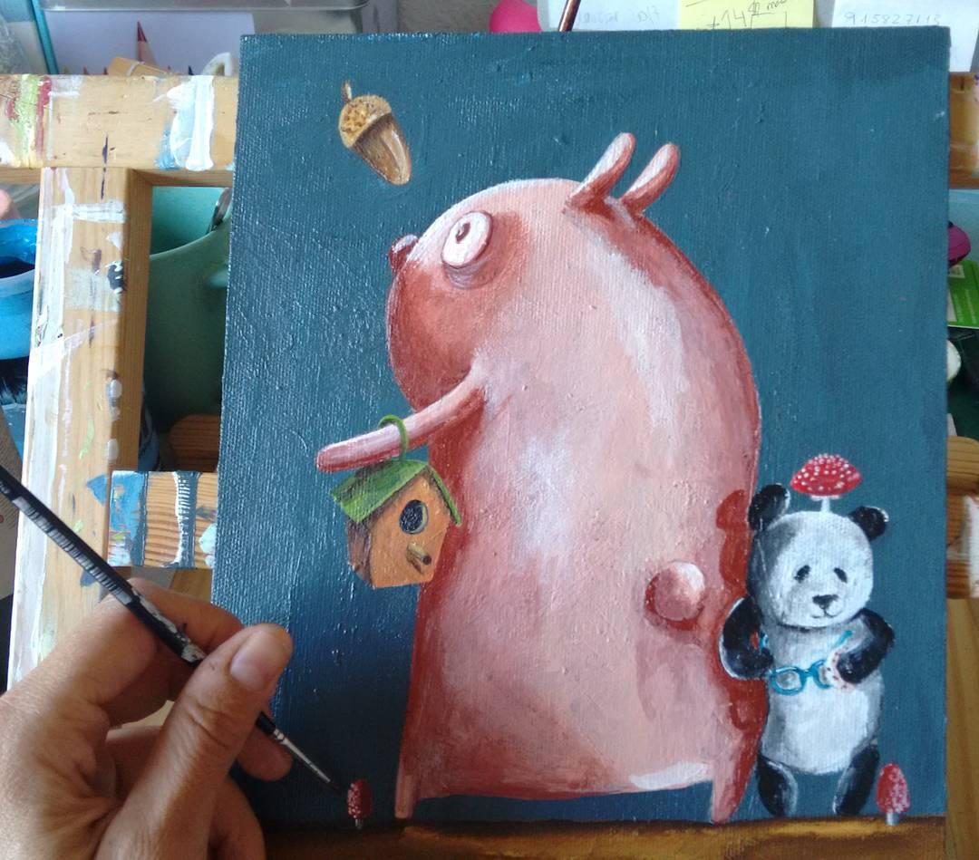 cerdo y panda