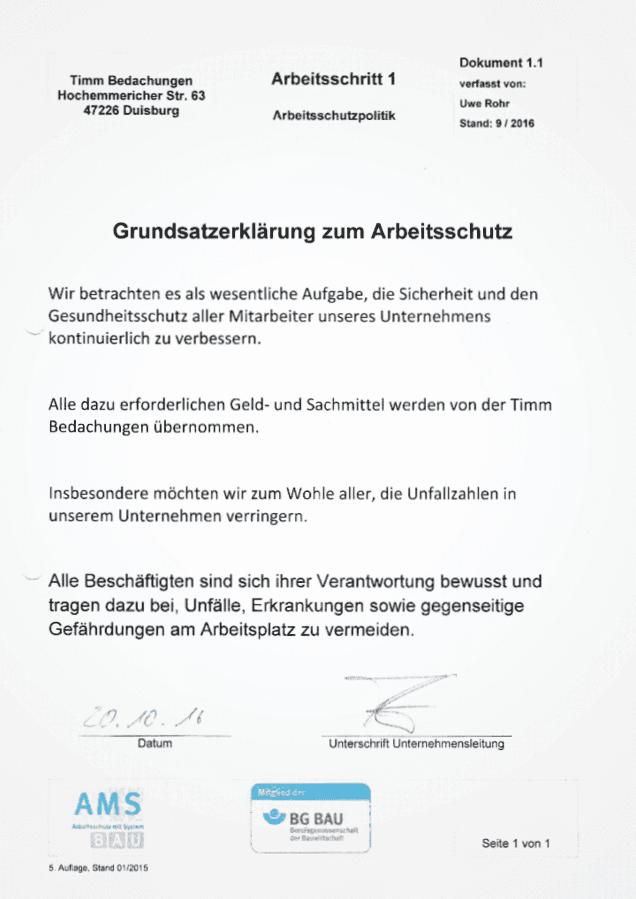 AMS-Bau Uwe Rohr Timm Bedachungen Dachdecker Arbeitssicherheit BG-Bau Grundsatzerklärung