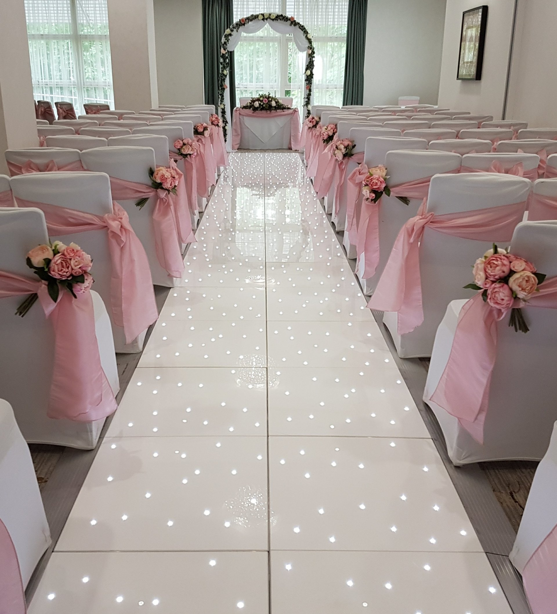 Book my LED Sparkle Aisle for your Wedding Ceremony from only £95 when booked with a Starlight Dance Floor!