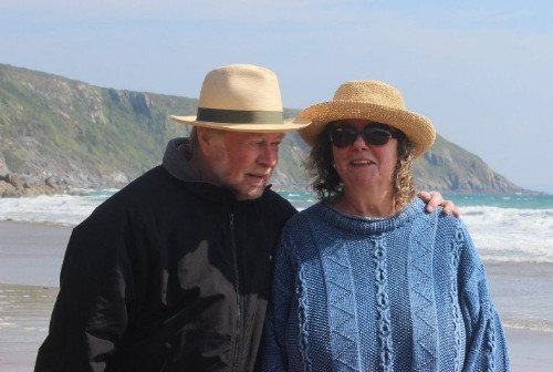 Andy and Louise on the beach photo by L A Kent Cornish author of Inspector Treloar Mysteries