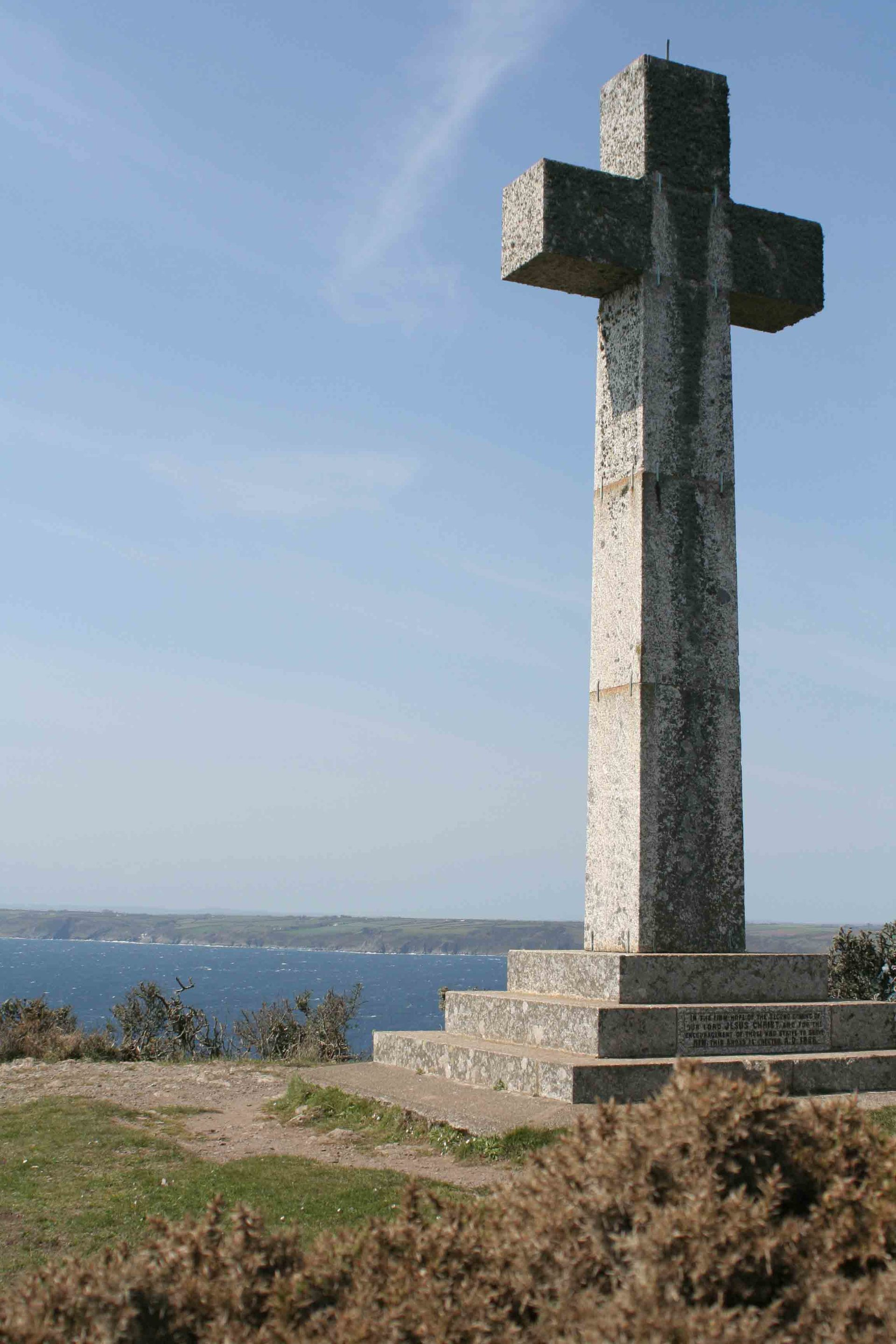 granite cross on Dodman Point erected in 1896 as navigational aid for seafarers L A Kent DI Treloar series Rogue Flamingo