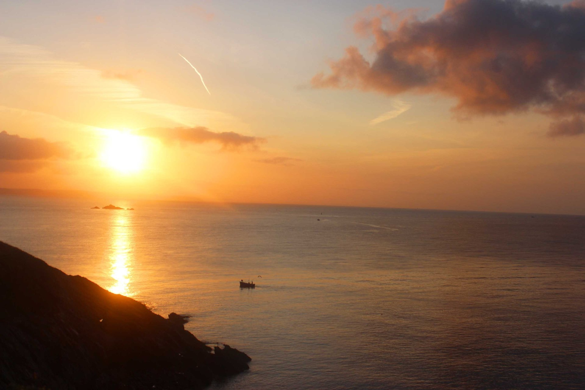 Sunrise overThe Gwineas Gorran Haven Cornwall in photo gallery by L A Kent author of Rogue Flamingo