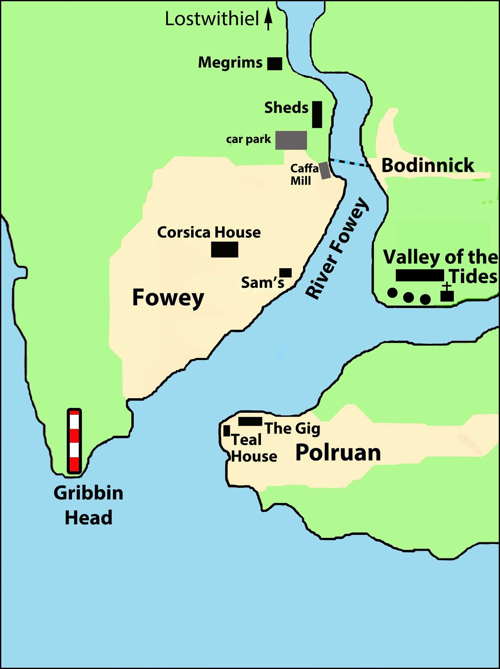 Fowey locations from Silent Gull by Cornish author L A Kent