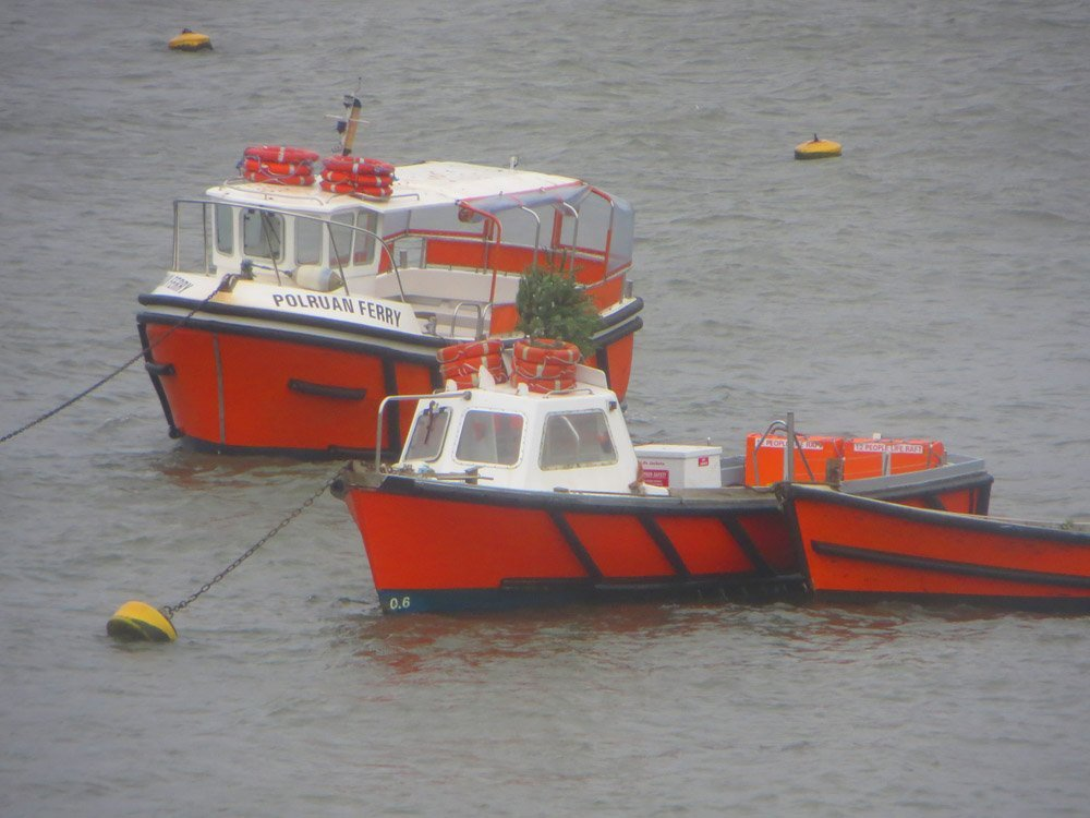 Polruan ferries seen from Teal House Fitzroy's residence in Silent Gull photo by L A Kent Cornish author of Inspector Treloar Mysteries