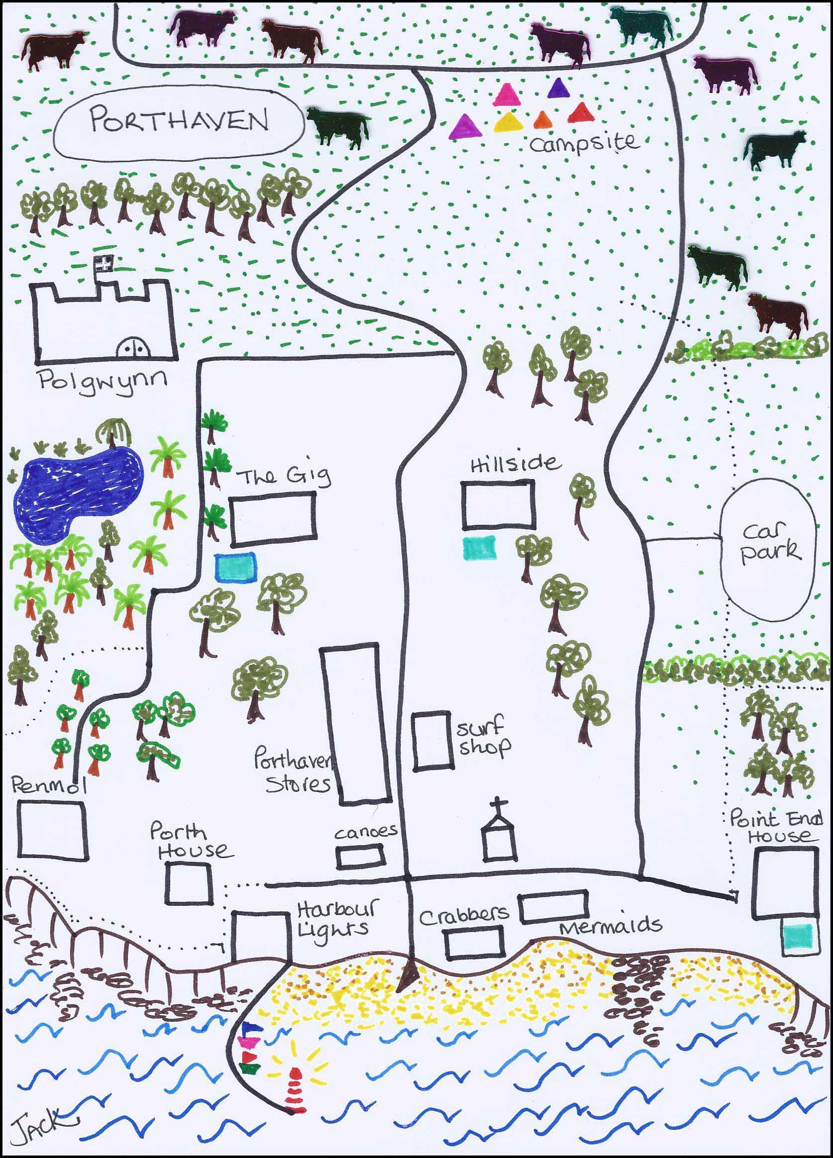 Jack Osborne's map of Porthaven Cornwall in Rogue Flamingo by L A Kent