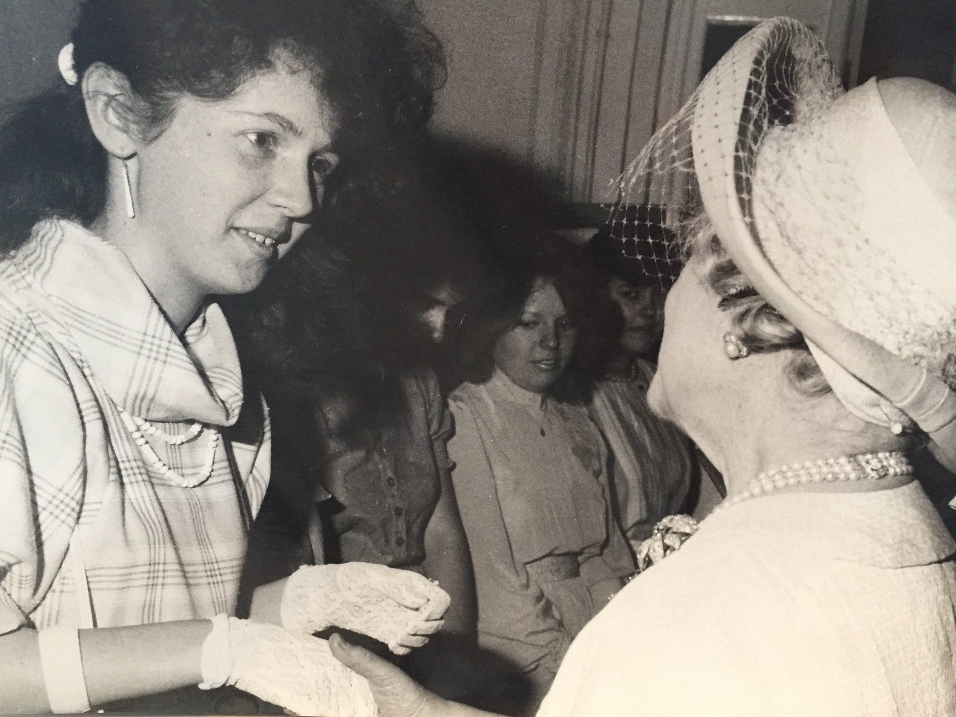 Being presented my Royal School of Needlework Certificate from the Patron The Queen Mother