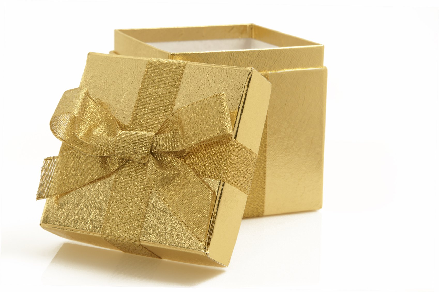 gold box and gold ribbon birthday party magician package
